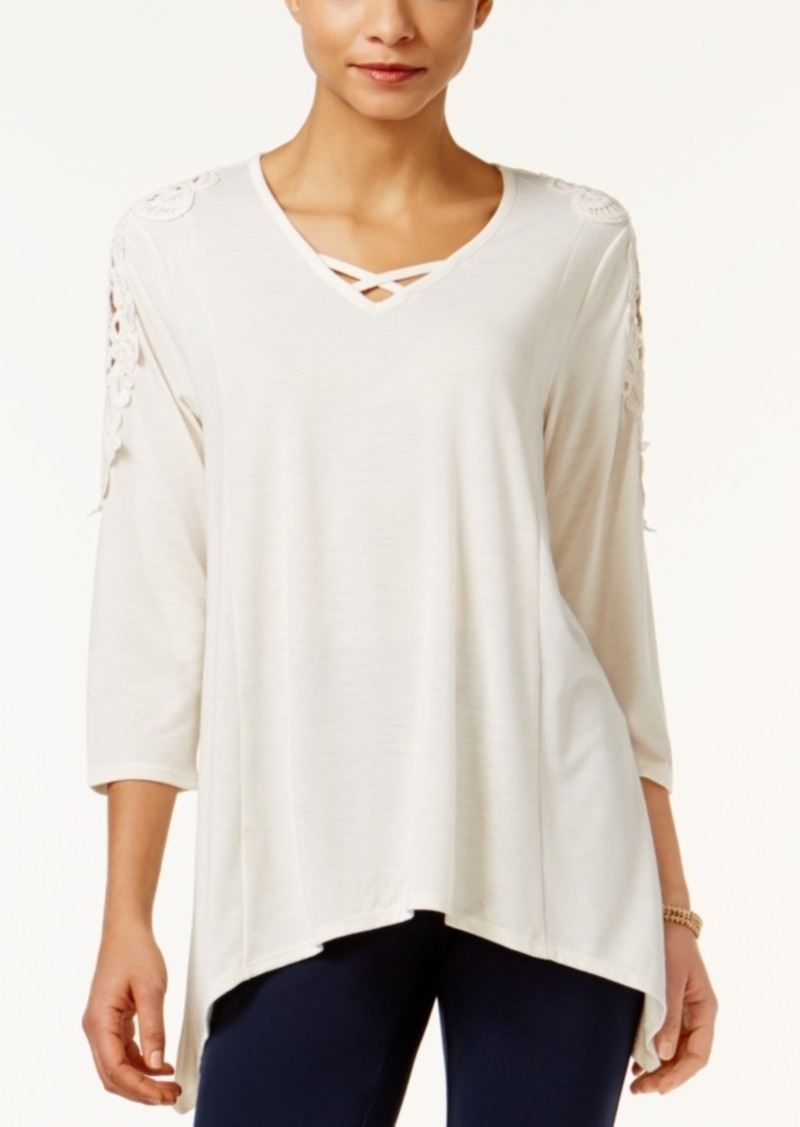 Style&co. Style & Co. Petite Lattice Crochet Top, Only at Macy's