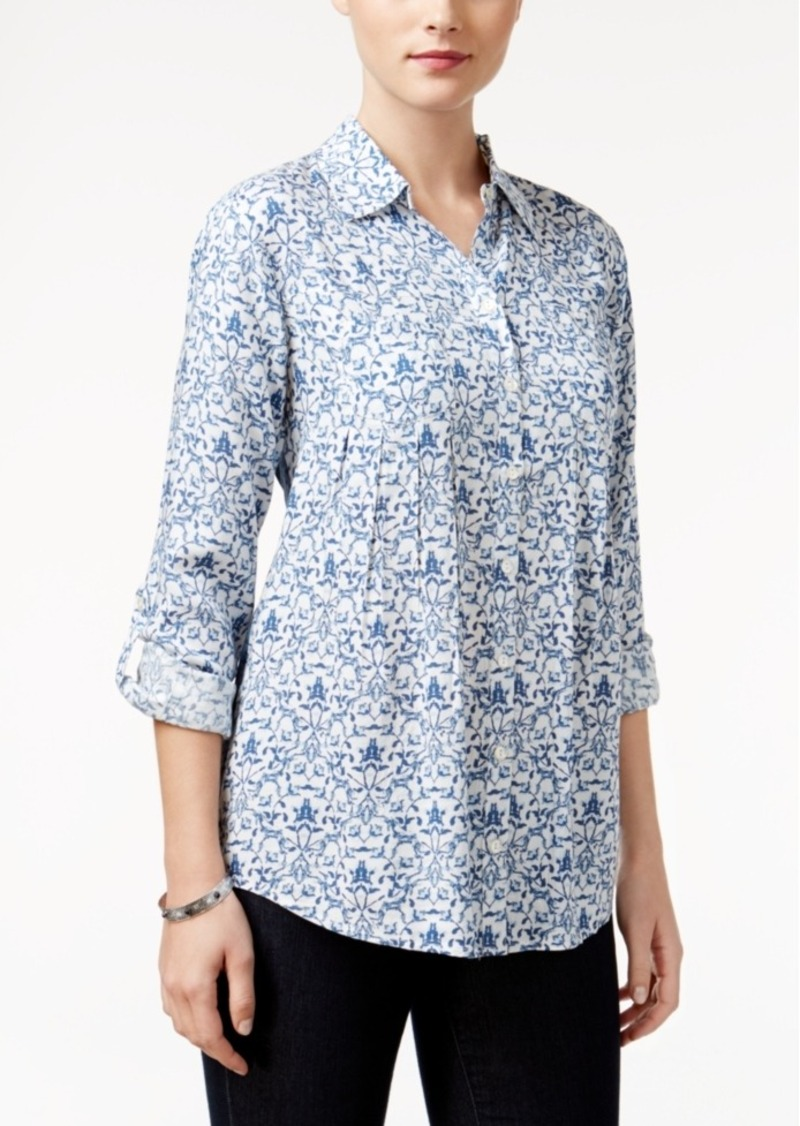 Style&co. Style & Co. Petite Mixed-Print Shirt, Only at Macy's