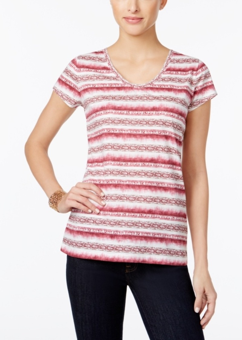 Style&co. Style & Co. Petite Paisley-Striped T-Shirt, Only at Macy's
