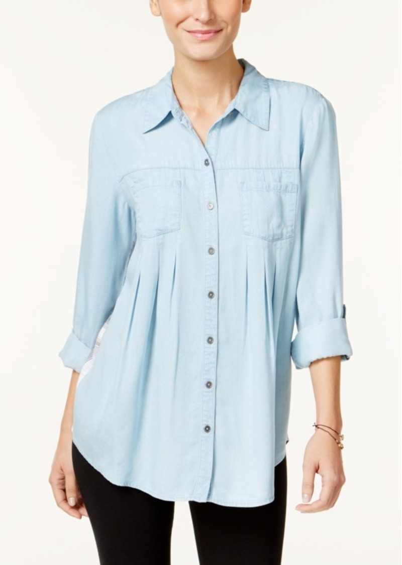 Style&co. Style & Co. Petite Plaid-Back Denim Shirt, Only at Macy's
