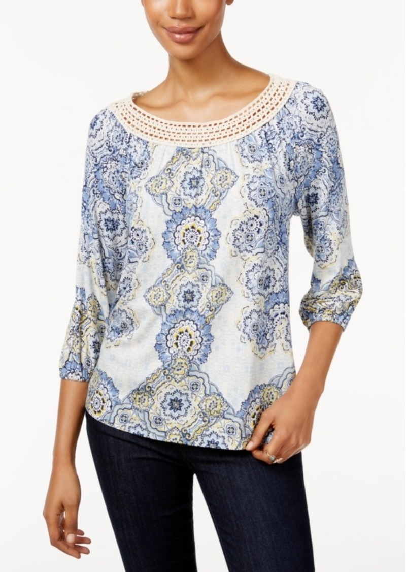 Style&co. Style & Co. Petite Printed Crochet-Neck Top, Only at Macy's