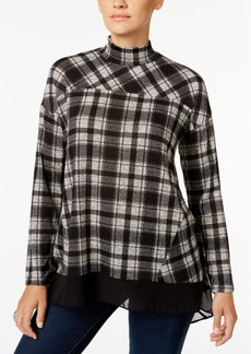 Style&co. Style & Co. Plaid Mock-Neck Top, Only at Macy's