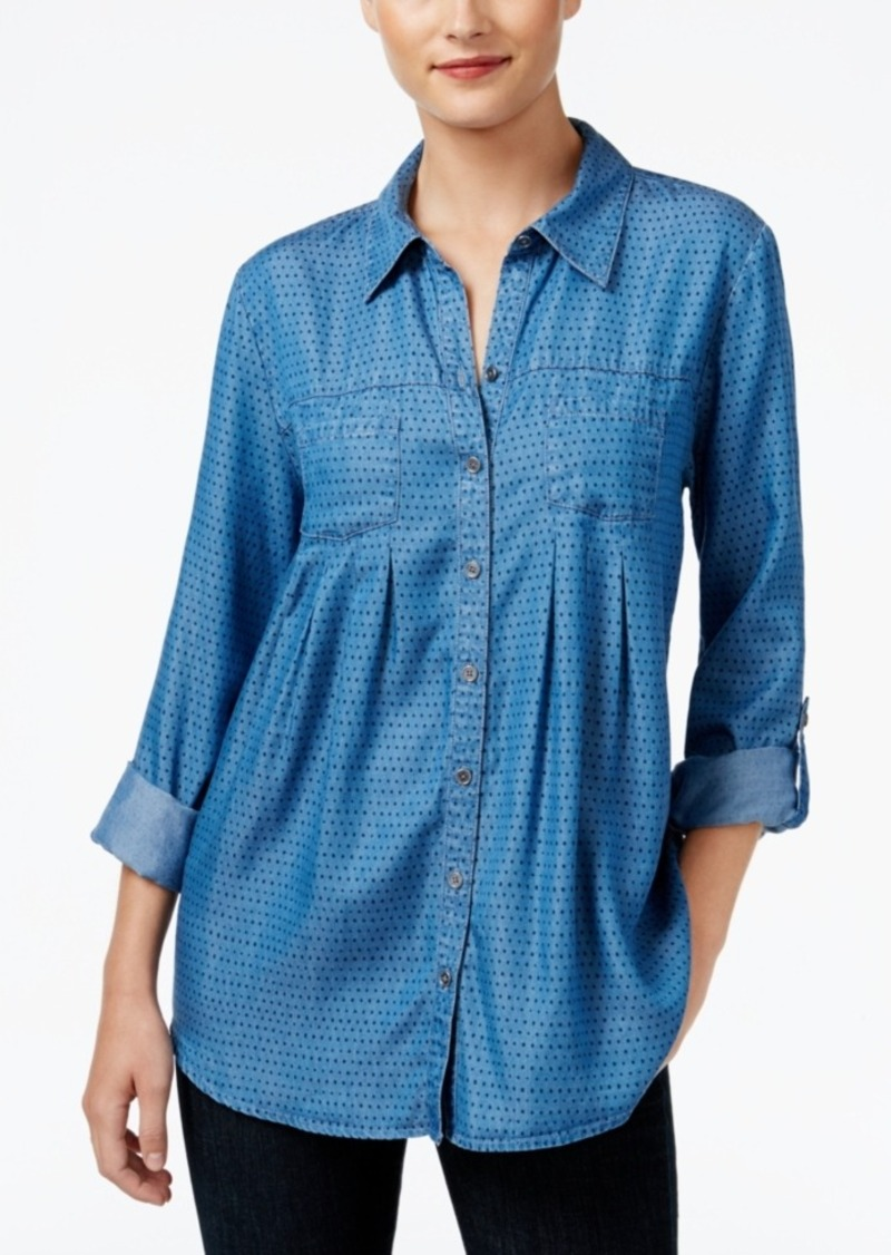 Style&co. Style & Co. Petite Dot-Print Denim Shirt, Only at Macy's