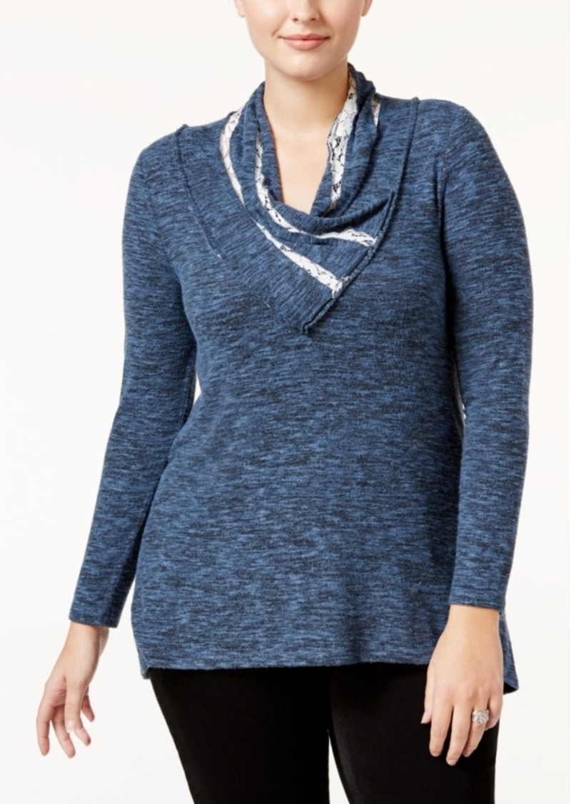 Style&co. Style & Co. Plus Size Cowl-Neck Marled Top, Only at Macy's