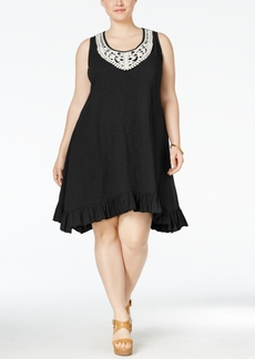 Style&co. Style & Co. Plus Size Crochet-Trim Ruffled Swing Dress, Only at Macy's