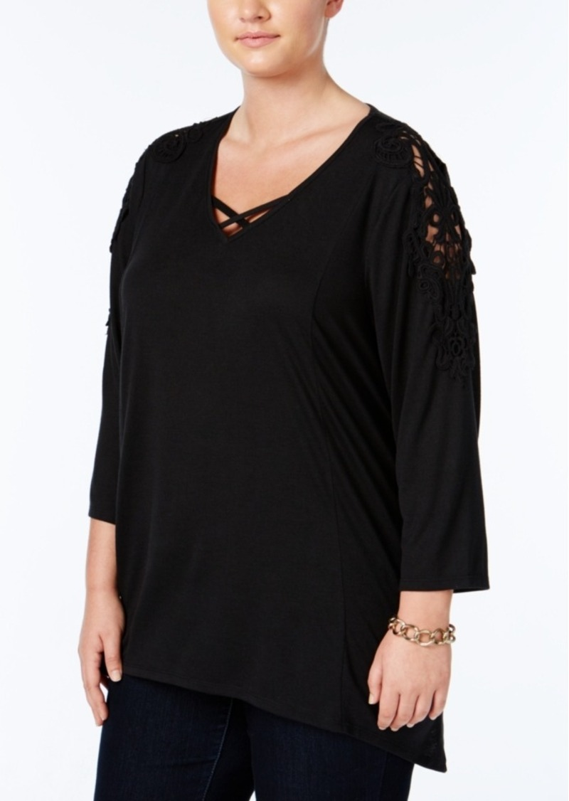 Style&co. Style & Co. Plus Size Crocheted Bridge-Hem Top, Only at Macy's
