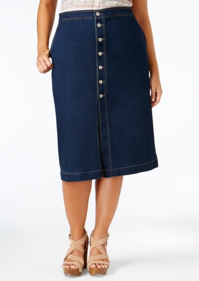 Style&co. Style & Co. Plus Size Denim Midi Skirt, Only at Macy's