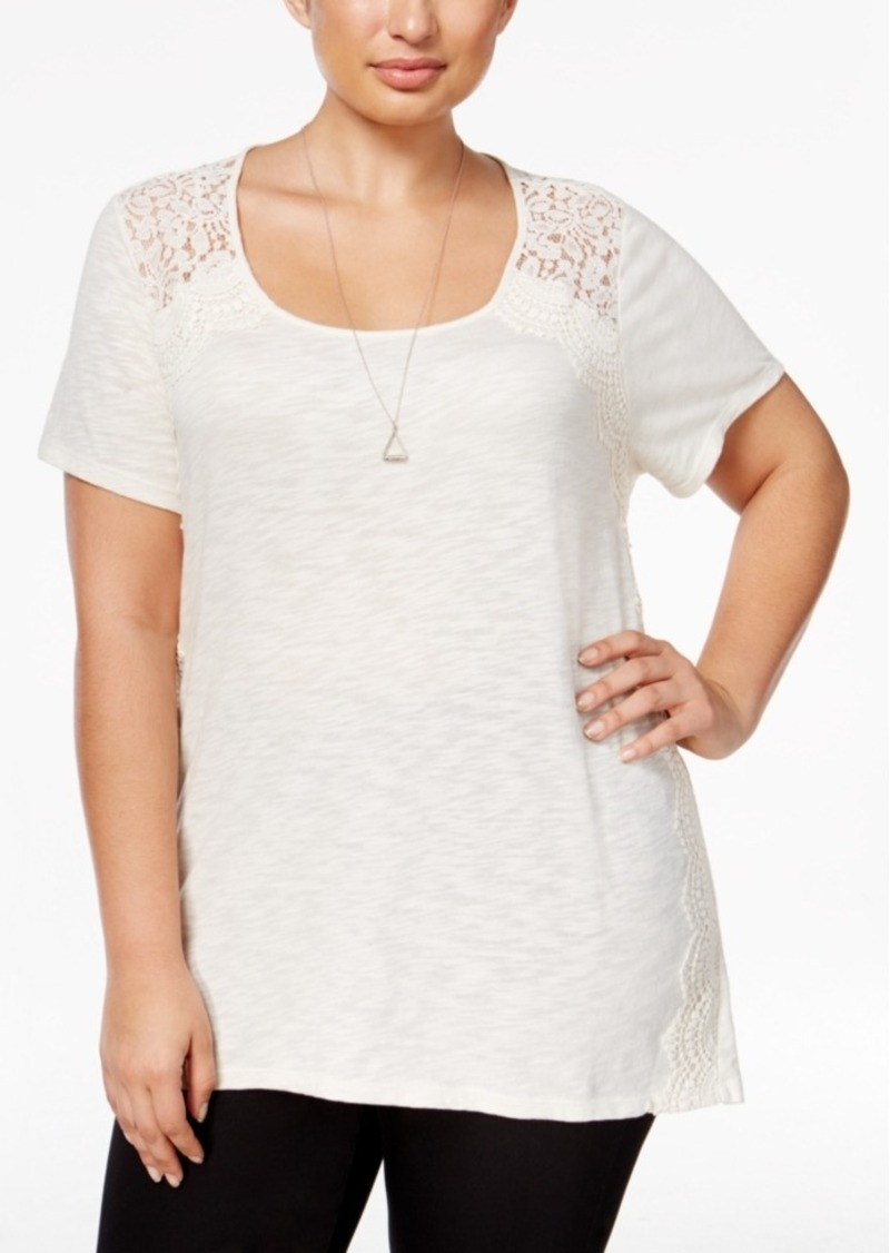 Style&co. Style & Co. Plus Size Lace-Trim Top, Only at Macy's