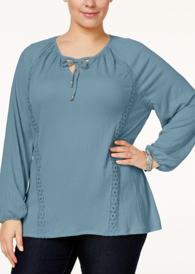 Style&co. Style & Co. Plus Size Lace-Trimmed Bishop-Sleeve Peasant Top, Only at Macy's
