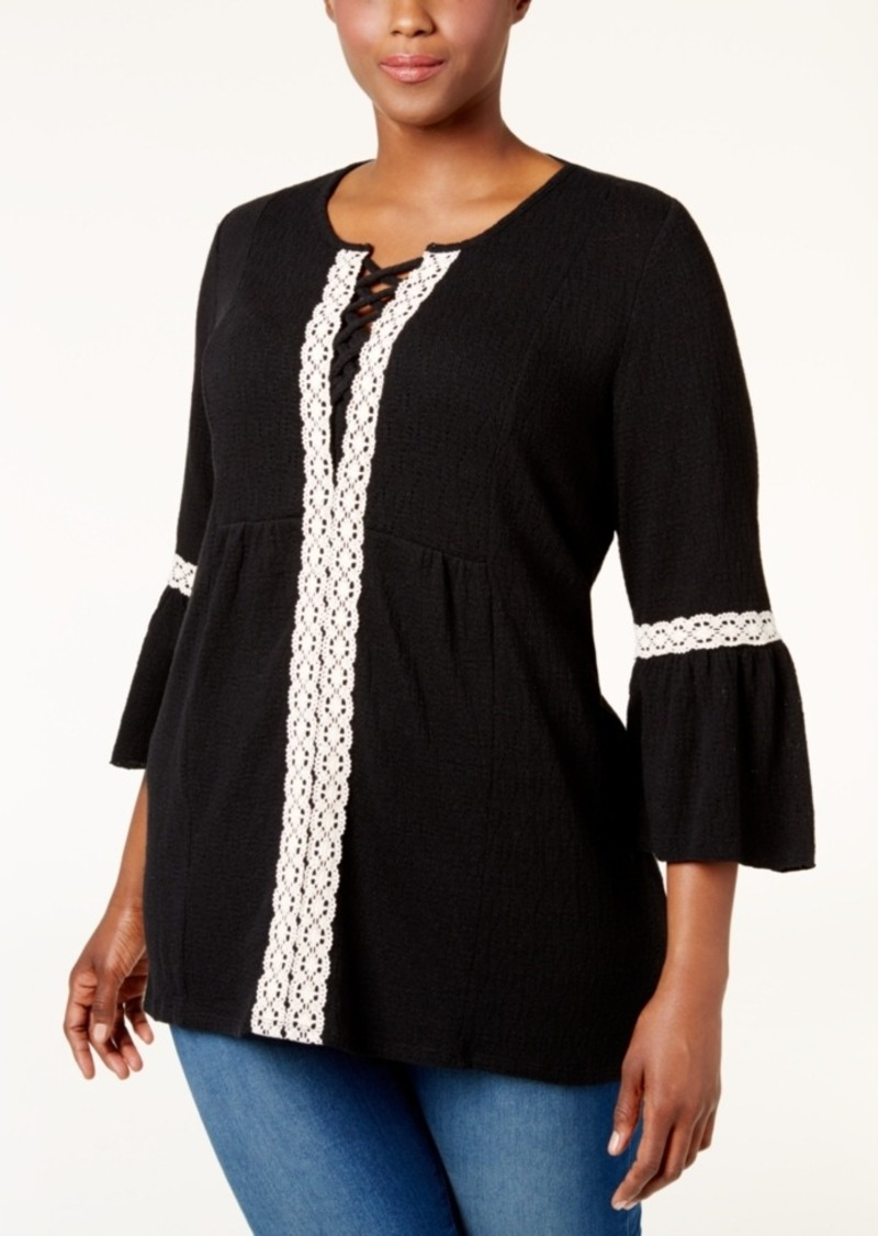 Style&co. Style & Co. Plus Size Lantern-Sleeve Swing Top, Only at Macy's