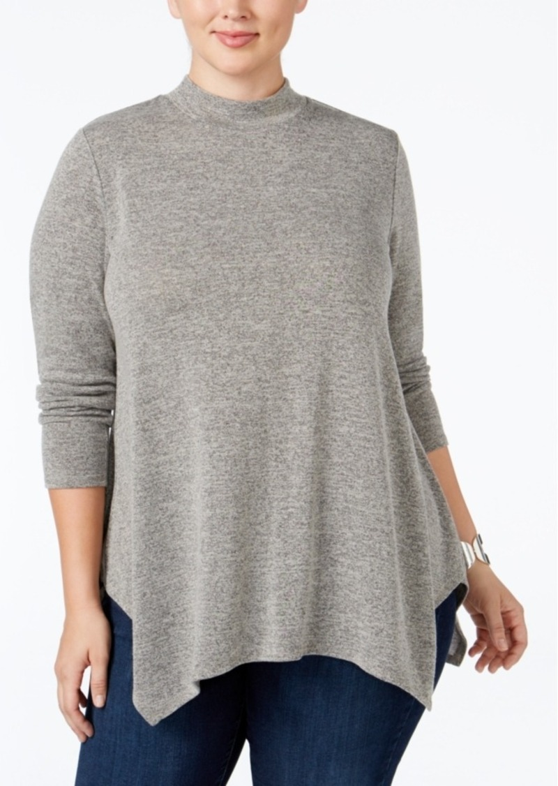 Style&co. Style & Co. Plus Size Melange Mock-Neck Top, Only at Macy's