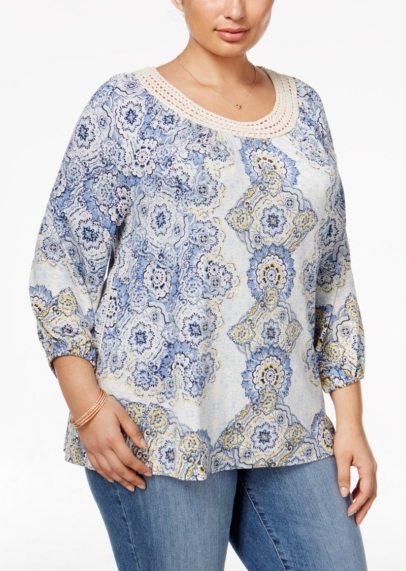 Style&co. Style & Co. Plus Size Printed Crochet-Trim Top, Only at Macy's