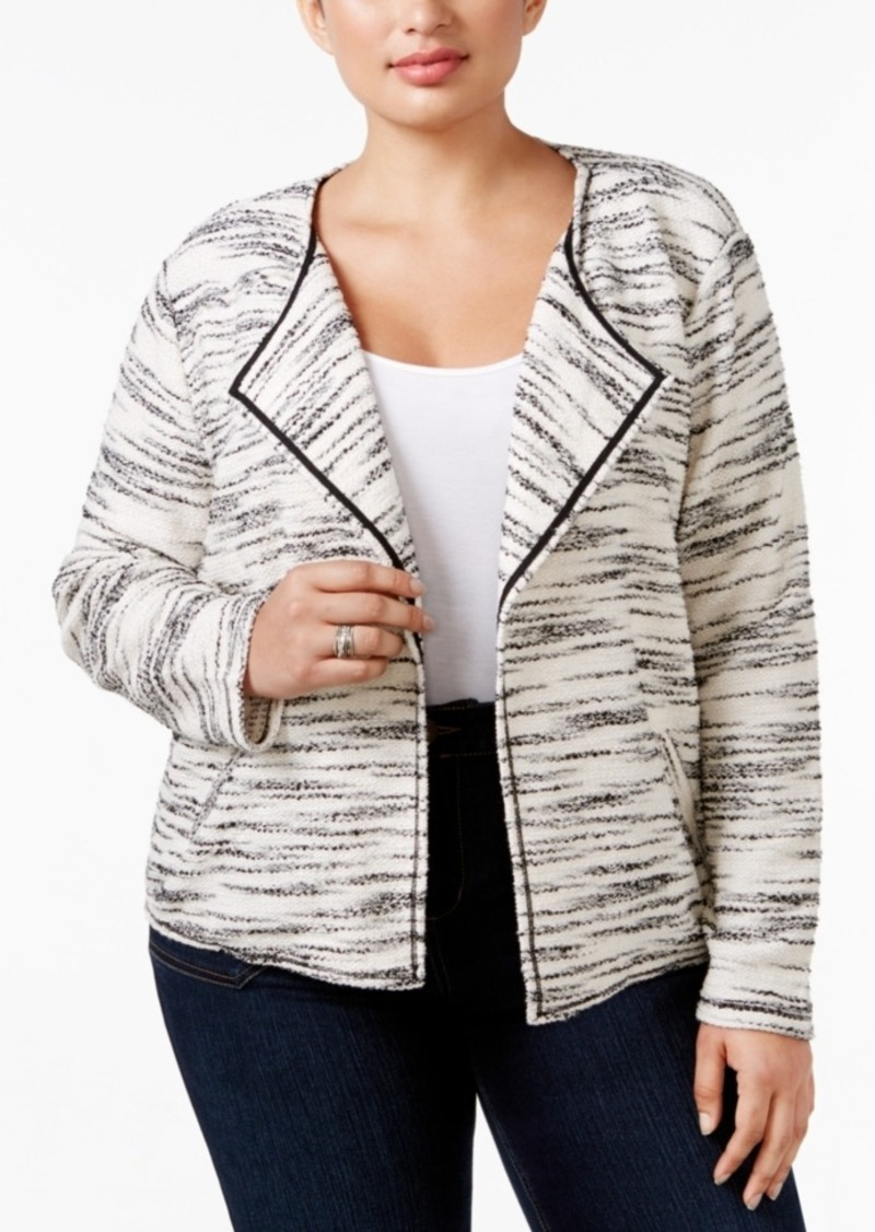 3081e12743c9e4 Style&co. Style & Co. Plus Size Space-Dyed Open-Front Jacket, Only ...