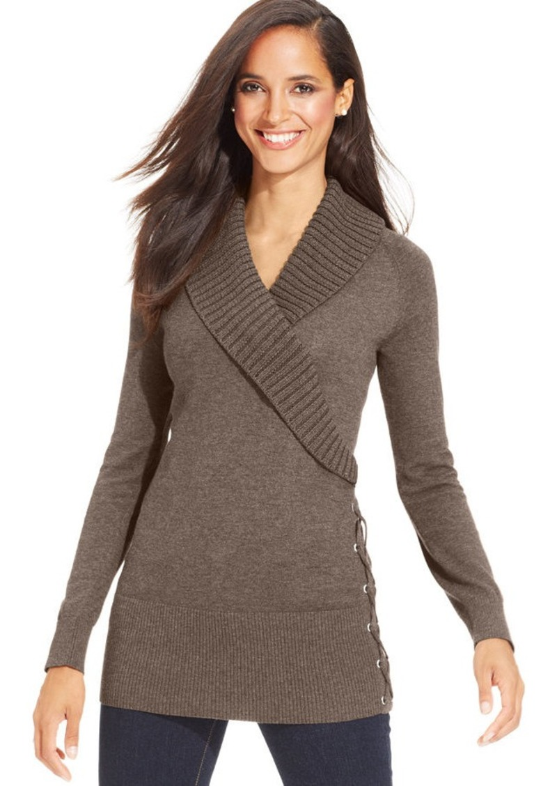 Style&co. Style&co. Petite Shawl-Collar Lace-Up Tunic ...