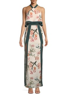 Stylestalker Aries Halter-Neck Floral Column Dress