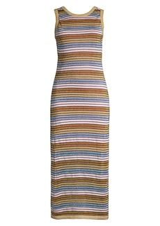 Suboo Alexe Metallic Striped Midi-Dress