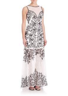 Sue Wong Floral Lace Trumpet Gown