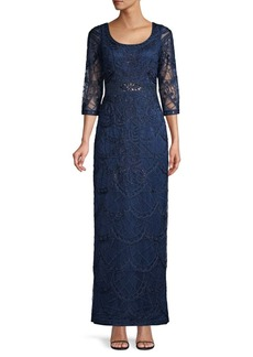 Sue Wong Lace Beaded Gown