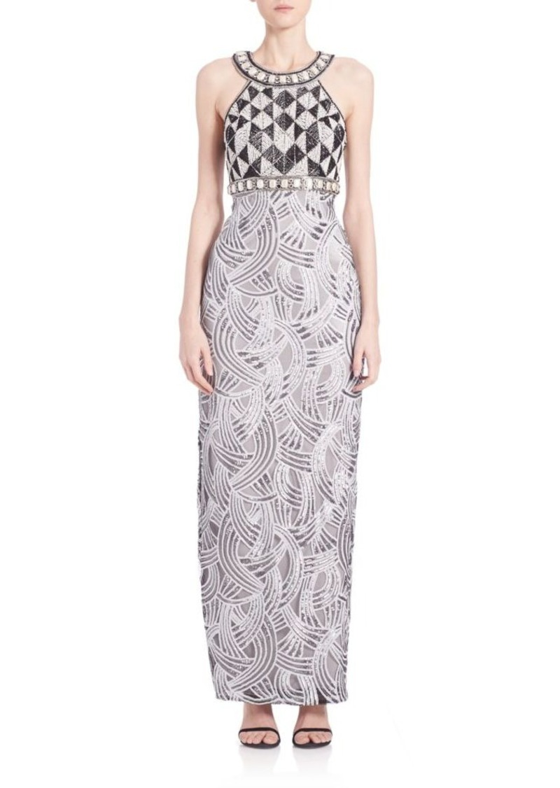 Sue Wong Embellished Column Gown