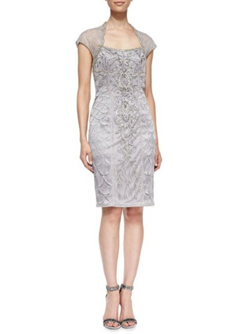 Sue Wong Embroidered Lace Cap-Sleeve  Cocktail Dress