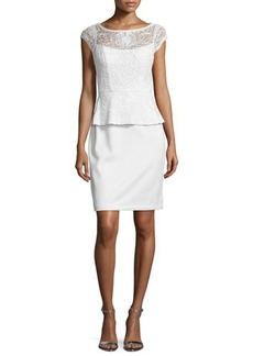 Sue Wong Lace Peplum Sheath Cocktail Dress