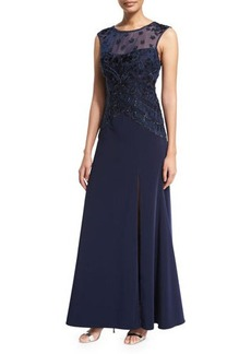 Sue Wong Sleeveless Cap-Sleeve Embroidered-Bodice Gown