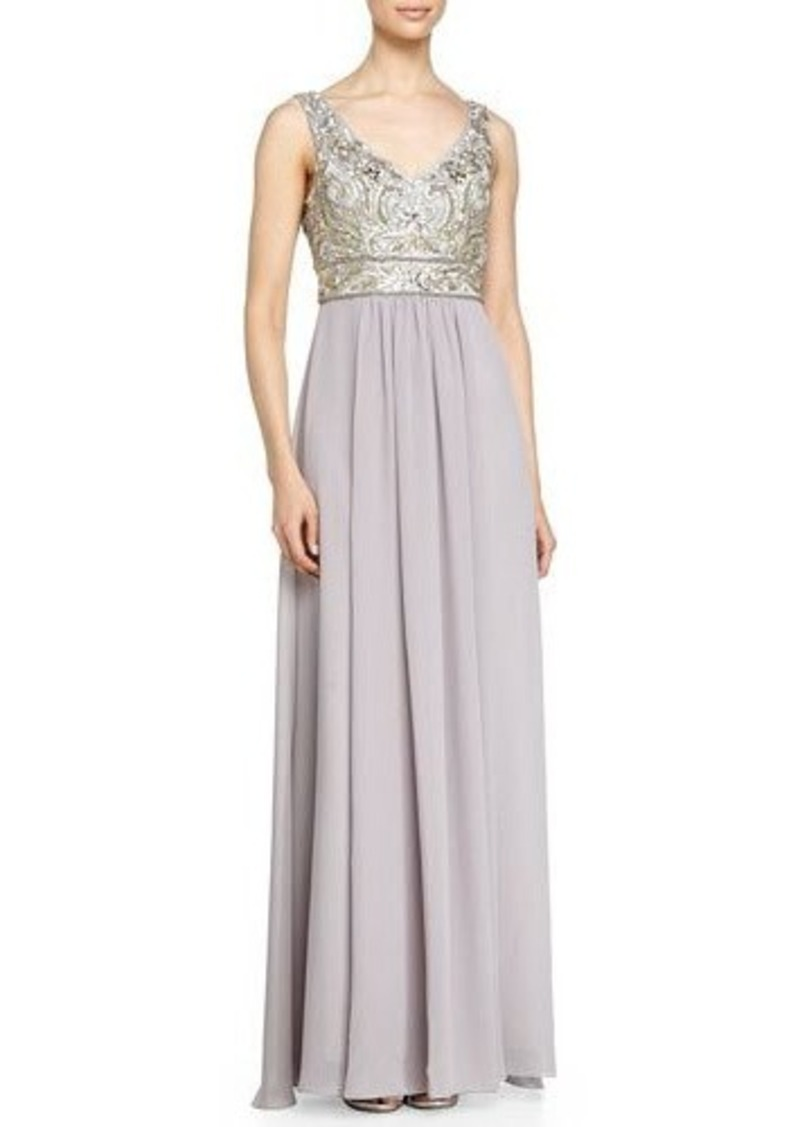 Sue Wong Sleeveless Embroidered Bodice & Chiffon Skirt Gown