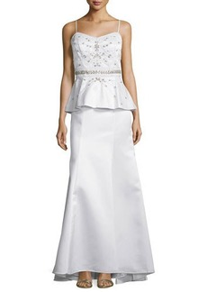 Sue Wong Sleeveless Peplum-Waist Embellished Gown