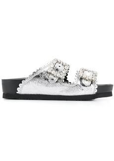 Suecomma Bonnie crystal buckle metallic sandals