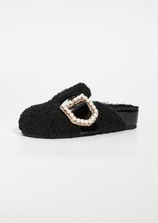 Suecomma Bonnie Jewel Buckle Detailed Eco-Fur Sandals