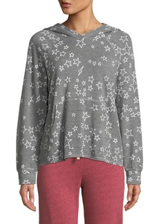 Sundry Cropped Star-Print Pullover Hoodie