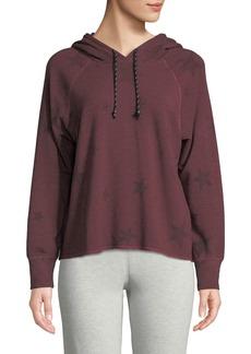 Sundry Cropped Star-Print Pullover Hoodie Sweatshirt