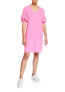 Sundry Short-Sleeve T-Shirt Ruffle Dress