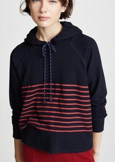 SUNDRY Cropped Stripes Hoodie