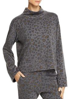 Sundry Leopard Print Funnel-Neck Sweatshirt