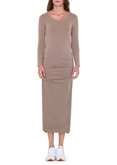Sundry Long Sleeve Ruched Jersey Dress
