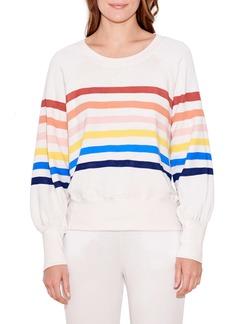 Sundry Stripe Puff Sleeve Sweatshirt