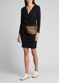 Sundry Surplice Long-Sleeve Ruched Jersey Dress
