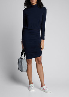 Sundry Turtleneck Long-Sleeve Blouson Dress