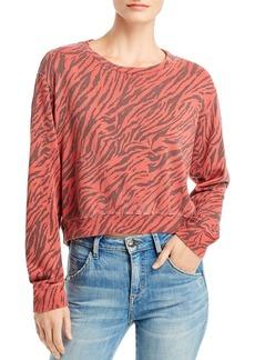 Sundry Zebra Print Cropped Sweatshirt