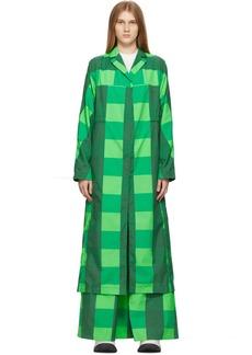 Sunnei Green Check Long Coat