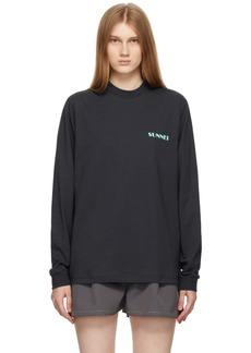 Sunnei Navy Mini Logo Long Sleeve T-Shirt