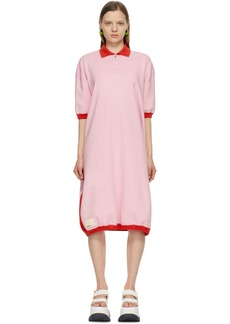 Sunnei Pink & Red Knit Polo Dress