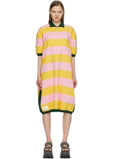 Sunnei Pink & Yellow Striped Knit Polo Dress
