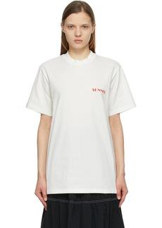 Sunnei White & Red Mini Logo T-Shirt