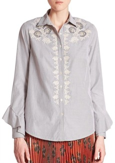 Suno Embroidered Button Front Cotton Shirt