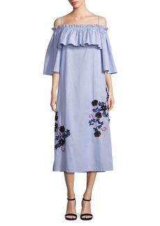 Suno Embroidered Off-Shoulder Pinstripe Dress