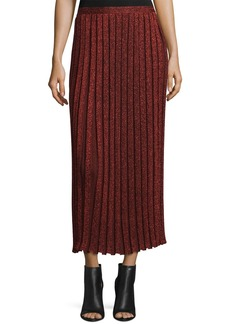 Suno Pleated Metallic Midi Skirt