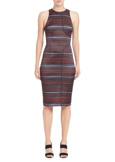Suno Seam-Detail Stripe Pencil Dress