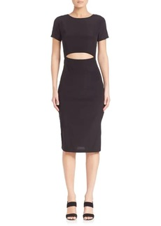 Suno Solid Silk Cutout Body-Con Dress